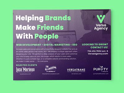 Versa Agency Postcard web web development agency seo postcard print ux ui branding typography brand identity type design