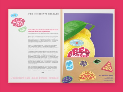 FTQ Press Kit food security charity drag queen drag type typography shangela feed the queens visual identity vector design brand identity branding press kit
