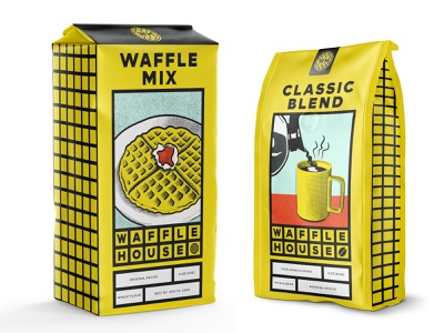WH Packaging waffles coffee bag bag waffle coffee waffle house brand refresh restaurant diner illustration visual identity type vector design brand identity branding typography