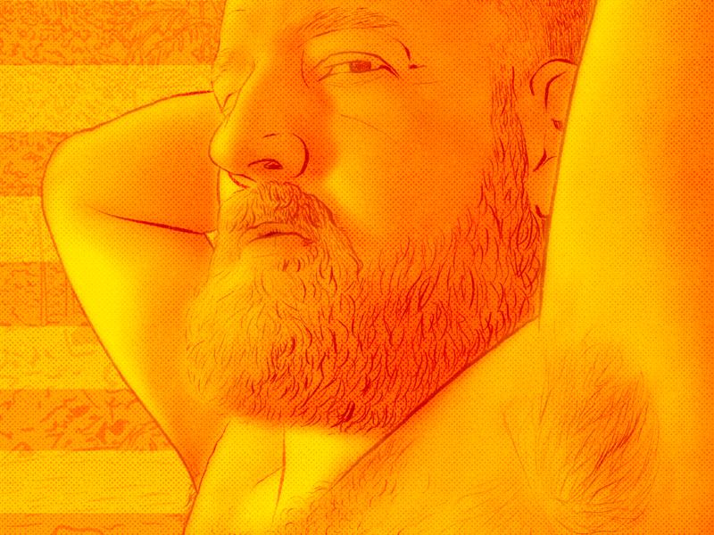 Golden Hour beard men orange yellow light nature golden hour golden procreate graphic illustration