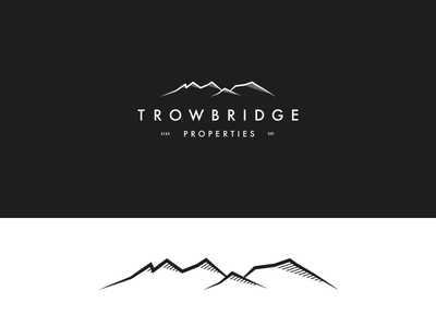 Trowbridge Properties Logo Mark line art vector illustration type cascades oregon mountains real estate logo brand