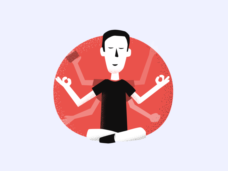 Zen guy - Meta Craft illustration #7 landing website illustration portugal product vector agency texture red relax duotone yoga zen illustrator