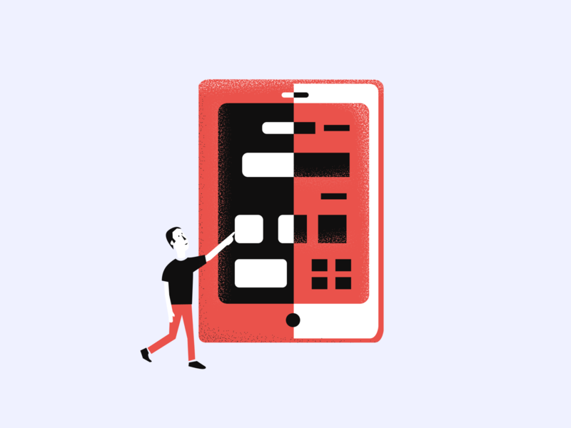 Pointing to a tablet - Meta Craft illustration #8 texture vector website agency product landing monotone character ux ui branding app illustration