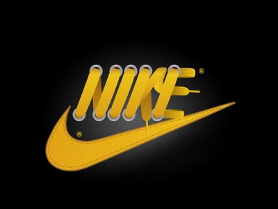 Nike Laces sneakers yellow swoosh sports illustration type laces nike