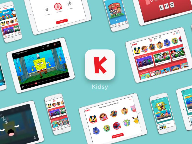 Kidsy ipad app games children tv characters design stream cartoon kids ipad uxui ux app