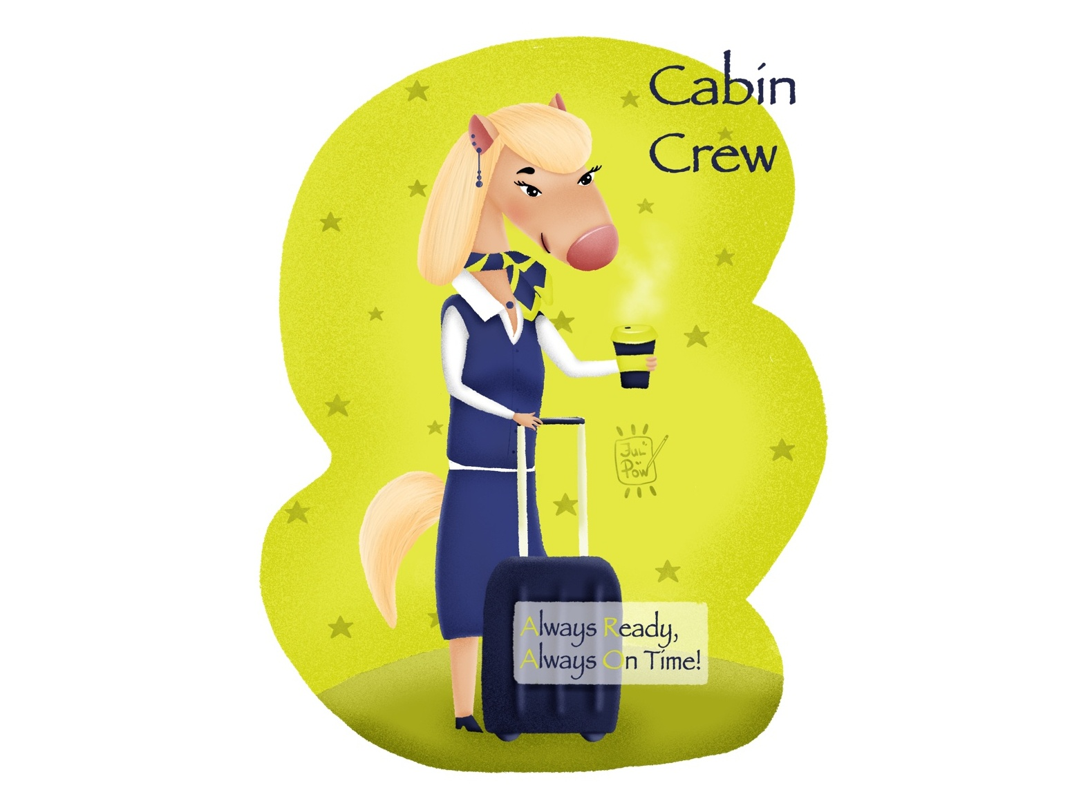 Cabin crew pony. advertising character travel illustration character design greetingcard pony cabin crew