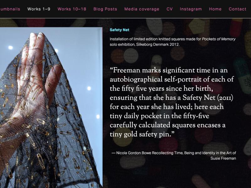 Susie Freeman website - screenshot