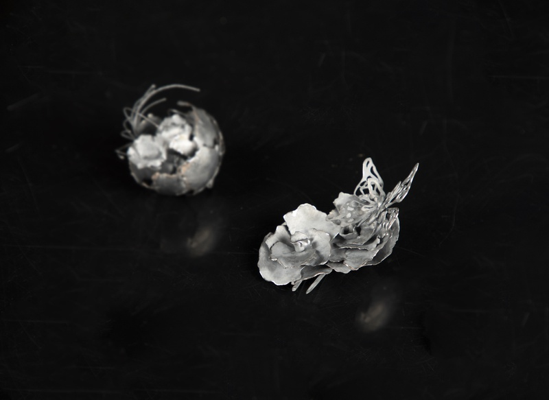 Project Whisper i hairpin metalwork butterfly petal flower jewelery jewellry design yuanzheng yang jewelry design jewelrydesign contemporary jewelry contemporaryart