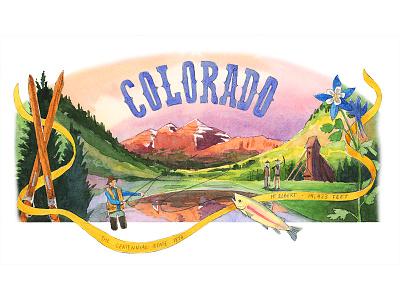 Colorado illustration watercolor colorado