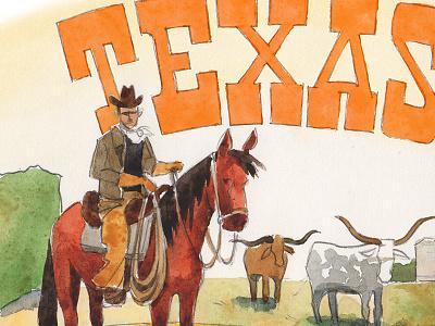 Texas Detail watercolor texas illustration