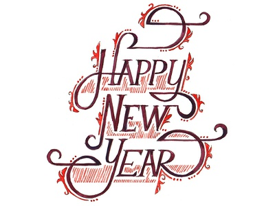 New Year Illustration Dribble new years lettering hand drawing detailed watercolor holiday decorated decorative