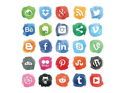 Social Watercolor Icons watercolor social media icon set wash network