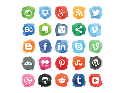 Social Watercolor Icons