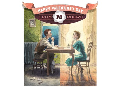 Valentine's Day Graphic mocavo valentine illustration watercolor painting paint
