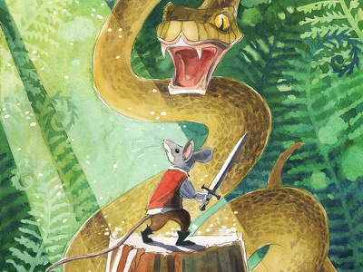 Creativity takes Courage mouse watercolor snake forest painting illustration childrens picture book