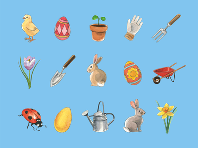 Spring and garden icons icon watercolor set garden spring easter holiday painted handdrawn