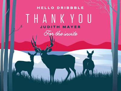Hello Dribbble Debut Thank You colorado silhouette lake grass trees mountains snow deer thank you invite debut hello dribbble
