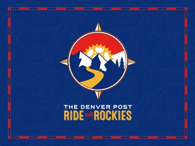 Ride The Rockies Logo 2018 bike cycling gear trees topography map event tour rockies logo brand compass mountains colorado