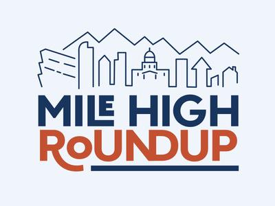 Mile High Roundup skyline flat design logo line art mountain city colorado denver typography illustration branding logo design