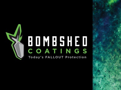 Bombshed Coatings logo logo mark logodesign black fallout vector powder bomb shelter typography green brand branding powder coating bomb design logo
