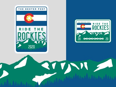 2020 Ride The Rockies logo design vector typography sign flag gear bike trees mountains branding brand logo colorado