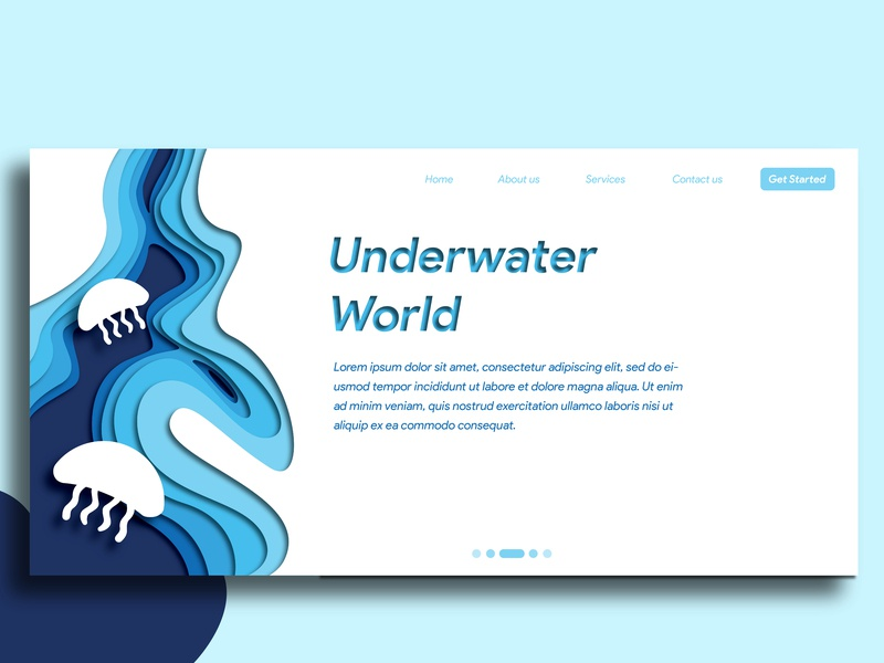 Papercut Design - Web Landing Page blue graphicdesign user experience userinterface illustration papercut