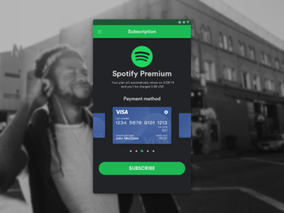 Daily UI Challenge #002 - Credit Card Checkout - Spotify