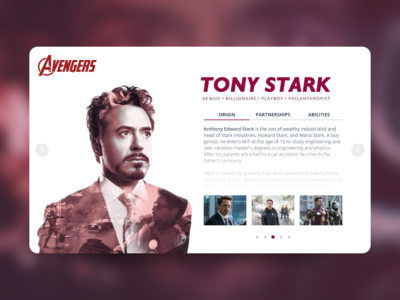 Daily UI Challenge 006 - User Profile - Tony Stark