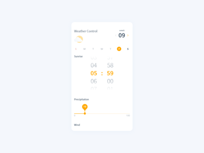 Daily UI Challenge #007 - Settings - Weather Control