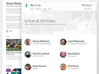 Sly Trunk: Team & Profile Views desktop agency brand company portfolio sketch web profile team
