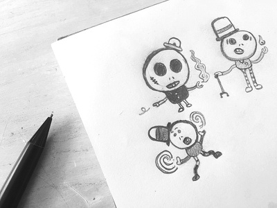 The Magic is in the Hats weirdos pencil sketch illustration drawings doodle drawing