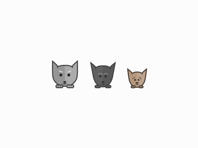 3 Lazy Gatos icon vector sketch cat character face