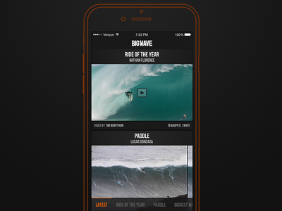 Big Wave Awards Concept 2: Structure sketch feed iphone apple ios app structure navigation