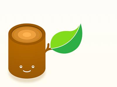 Refreshing the old Sly Trunk logo sketch smile stump leaf tree illustration logo