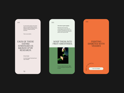 101 strategy for fighting diabetes — art direction layout ui veggies vegetable mobile typography food clean minimal website
