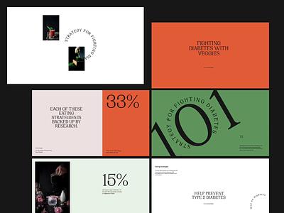 101 strategy for fighting diabetes — art direction / pt2 website design web design vegetables veggies diabetes animation simple clean typography minimal layout website