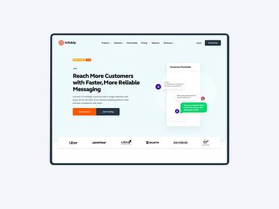 Infobip website design illustration animation simple clean layout minimal web typography website