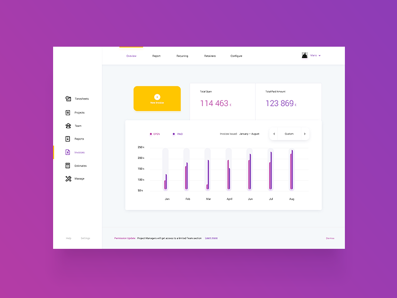 Invoices light Dashboard / UI Challenge — Week 03 ux ui application website app web white minimal flat invoice graph dashboard