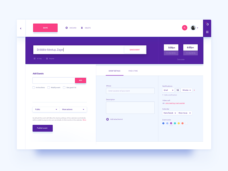 Calendar Invite / UI Challenge — Week 05 event flat ux ui application app website web module calendar