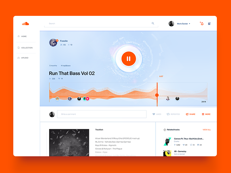 Soundcloud Song Layout / UI Challenge — Week 07 play clean simple ui website web app dashboard player music wave soundcloud
