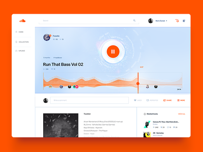 Soundcloud Song Layout / UI Challenge — Week 07 play clean simple ui website web app dashboard player music wave soundcloud