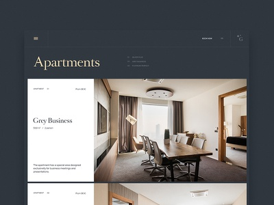 The Golden Center Apartments—Apartmets page ui minimal clean layout typography web website realestate apartments gold croatia zagreb