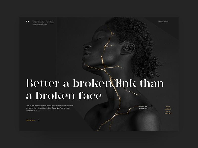 404 Page —UI Weekly Challenges-Season 02 / Week [2/10] broken link not found black dark ui web page website error 404