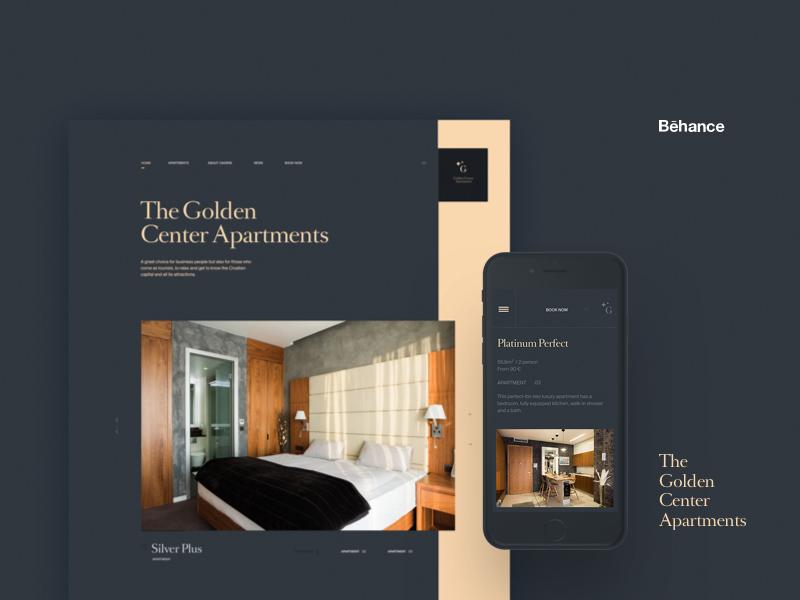 Golden Center Apartments Behance web website minimal clean type typography branding layout ui