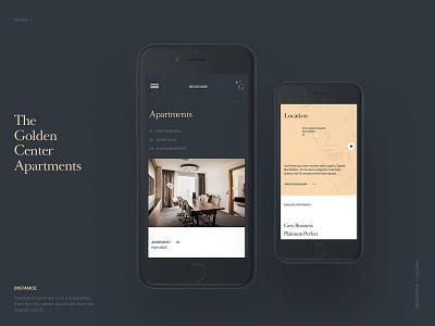 Mobile Screens—Golden Center Apartments interior typography croatia zagreb hotel apartments web website design mobile