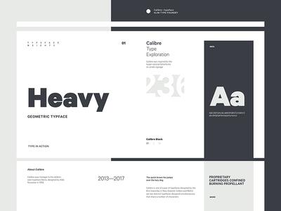 Calibre Specimen grey white black specimen minimal layout typography type
