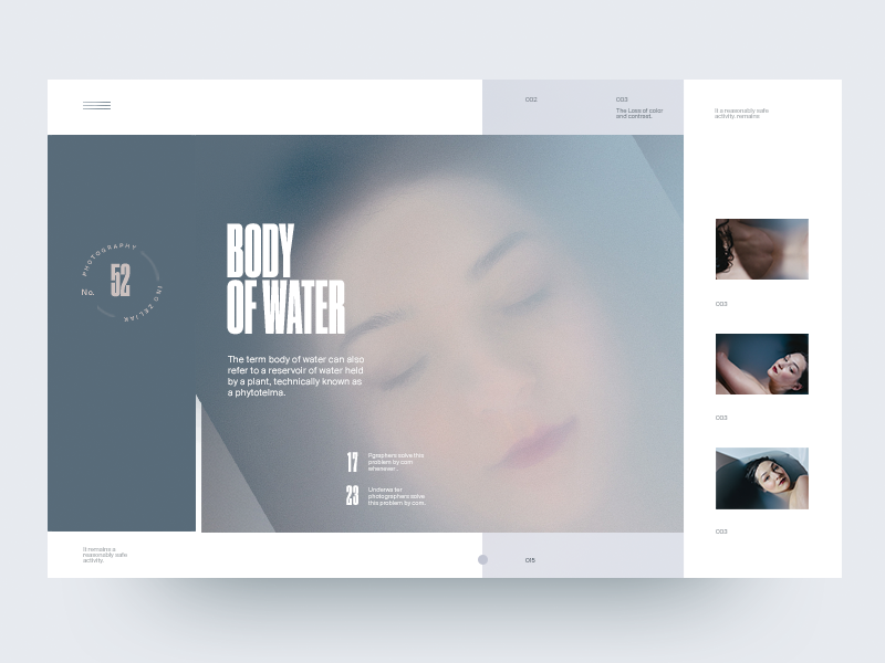 Body Of Water Slider water typography type photography minimal layout fashion clean