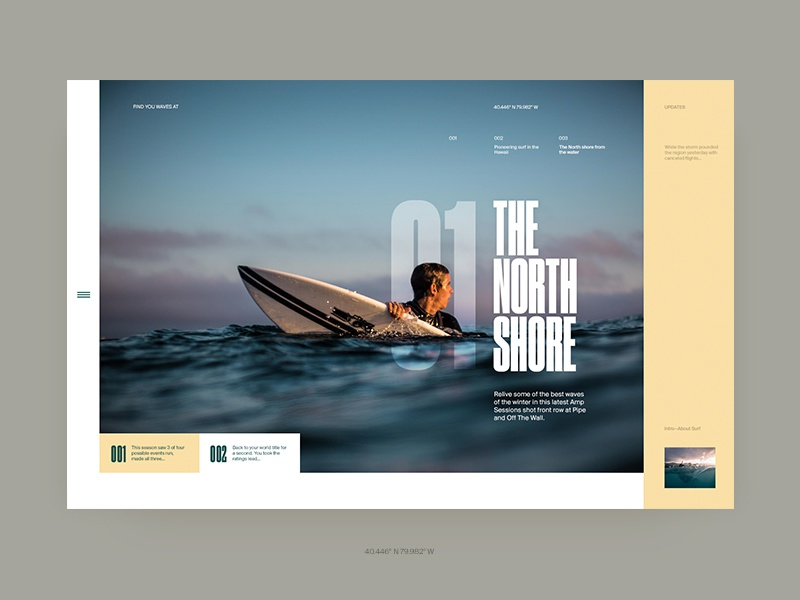 The North Shore ocean surf ui layout typography type clean minimal website web