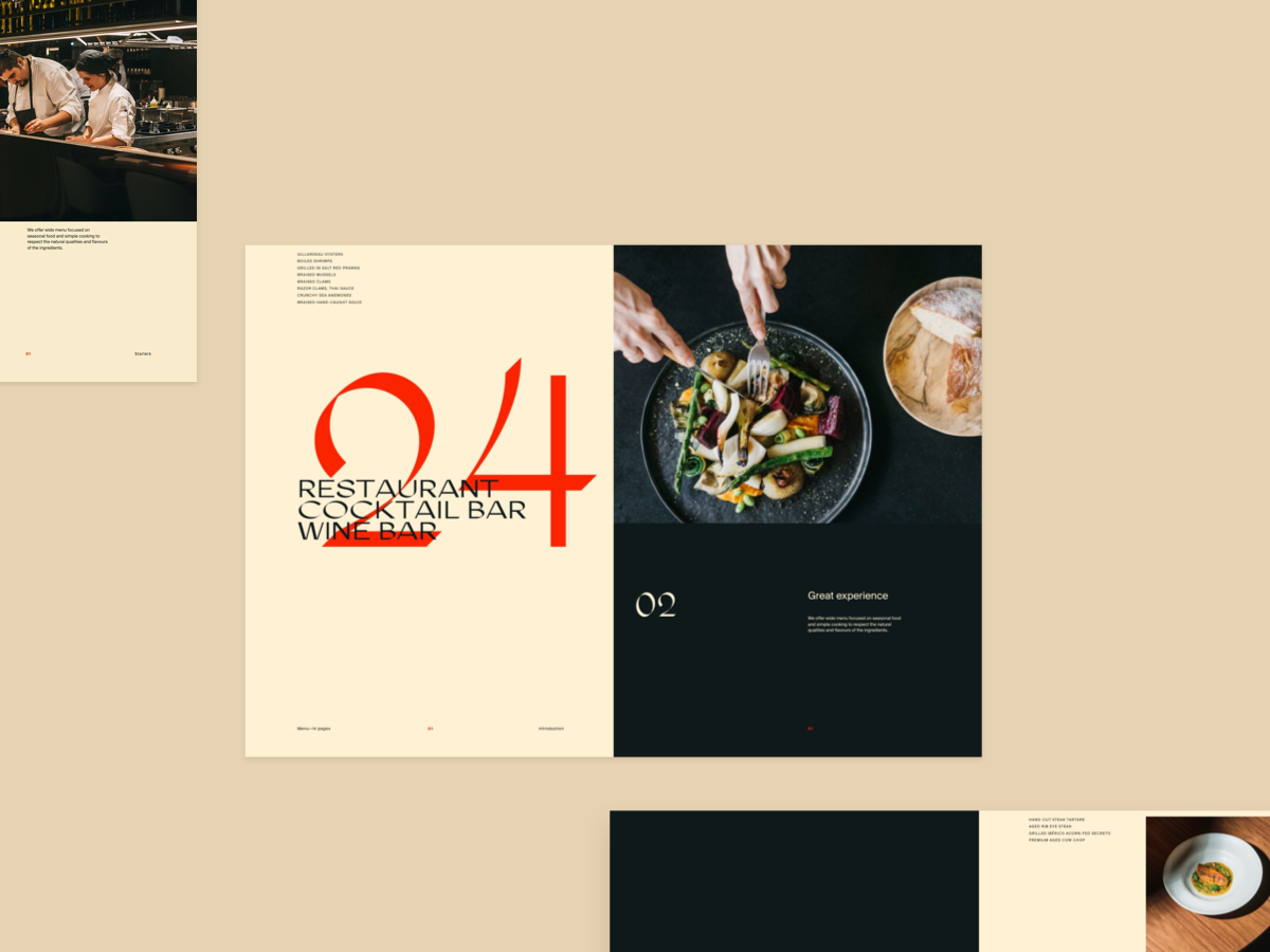 Restaurant menu design direction restaraunt branding simple clean layout minimal typography