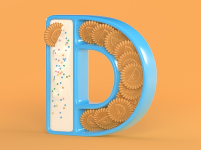 D is for Dunkaroos frosting 90stoys throwback retro 90s nostalgia 3dtype 3d typography 3d lettering 3d art 3d render art direction 3d modeling food typography food food art food illustration cinema4d c4d 36daysoftype